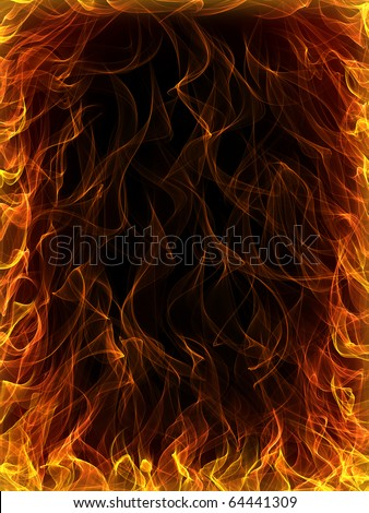 Fire and flames background - stock photo