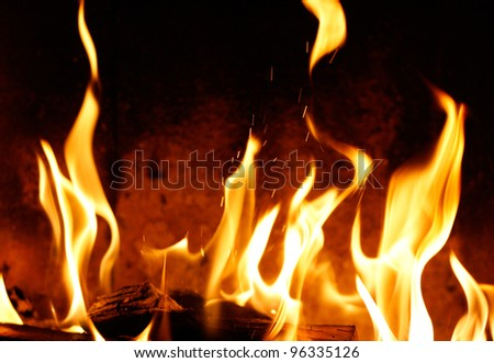 Fire and flames in a fireplace background