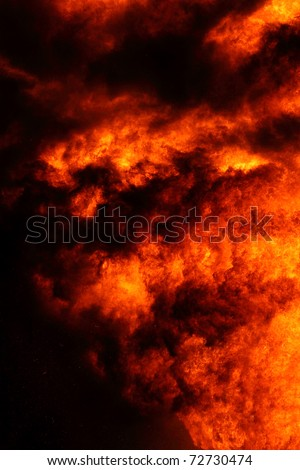 Fire and flames on a black - stock photo