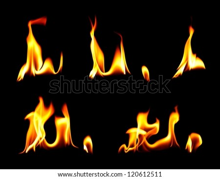 Fire and flames over black background - stock photo