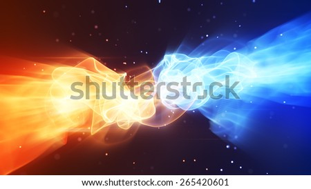 fire and ice abstract background - stock photo