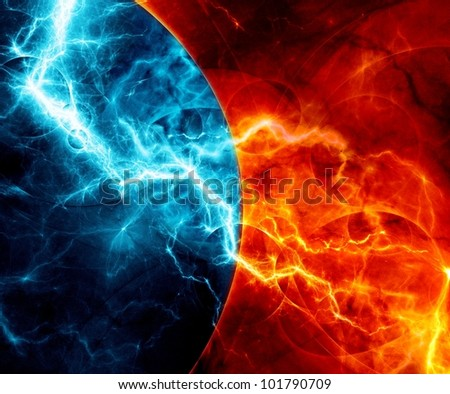 Fire and ice abstract fractal lightning - stock photo