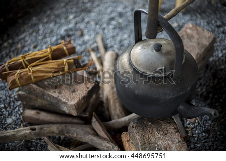 fire and kettle - stock photo