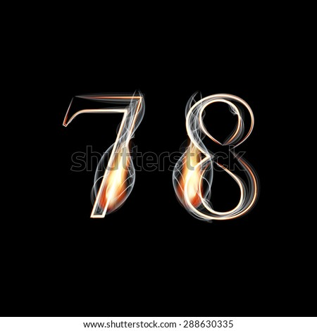 Fire and Smoke font. Numbers 7 8. Raster version - stock photo