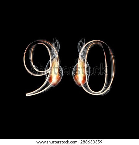 Fire and Smoke font. Numbers 9 0. Raster version - stock photo