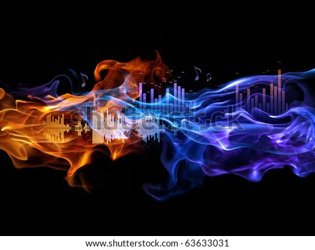 Fire and sound-waves. Music background. - stock photo