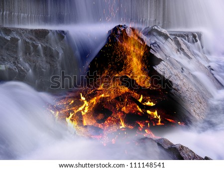 Fire and Water - stock photo