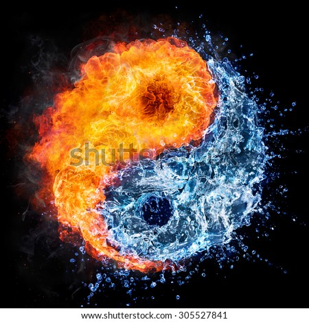 fire and water - yin yang concept - tao symbol - stock photo