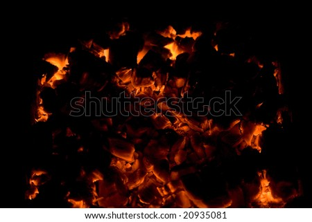 Fire at night. The beautiful abstract fiery background
