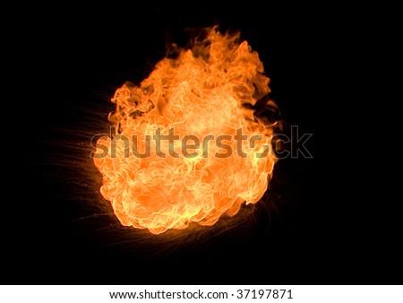 Fire ball on black ground - stock photo
