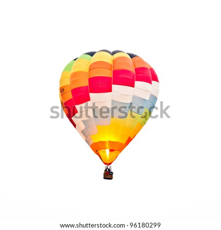 Fire balloon during a foggy day on white background - stock photo