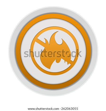 Fire ban circular icon on white background