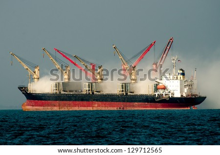 Fire big boat on the sea - stock photo