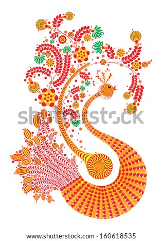 Fire bird with decorative wings and tail patterns isolated on white - stock photo