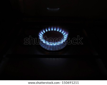 Fire - Blue flame of gas stove    - stock photo