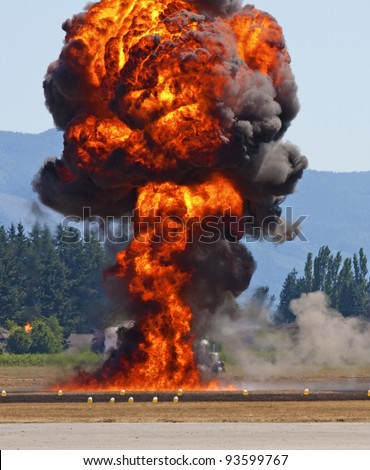 Fire Bomb Drop, Airshow Demonstration, Canada - stock photo