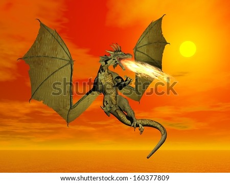 Fire-breathing dragon flying wings wide open at sunset