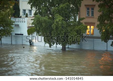 Fire brigade have been putting up metal flood barriers. Flood in Prague, Czech Republic. - stock photo