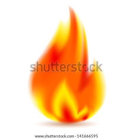 Fire, bright flame on white background. Rasterized versions (copies) - stock photo