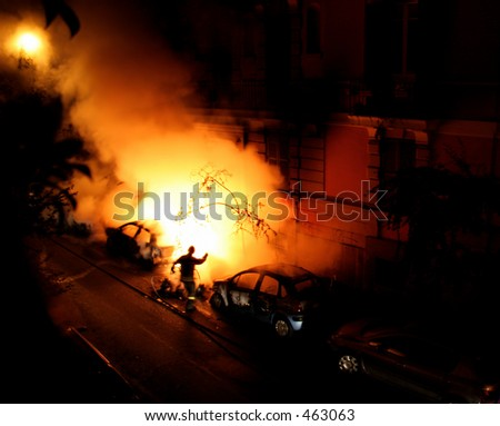 Fire - Burning cars - Fireman at work -