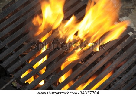 fire burning embers and logs - stock photo