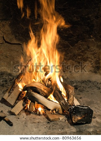 Fire burning in a fireplace - stock photo