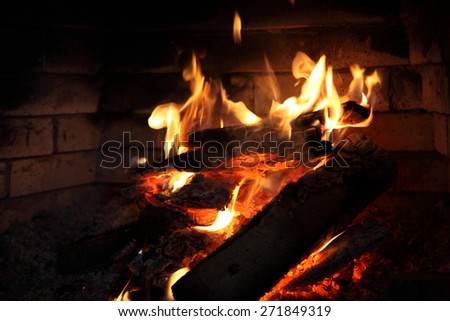 fire burning in the fireplace - stock photo