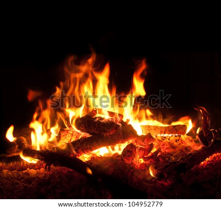 Fire burning in the night. - stock photo