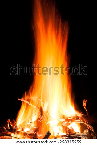 Fire burning in the night - stock photo