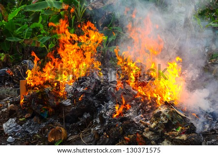 Fire burning of the rubbish - stock photo
