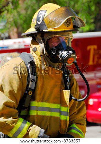 Fire captain on the scene of an emergency. - stock photo