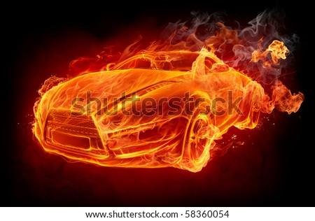 Fire car on a black background. Original car design. - stock photo