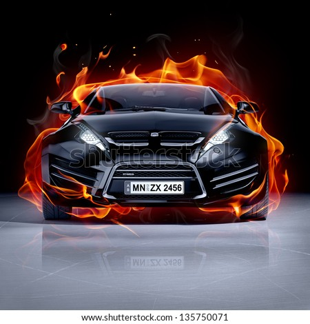 Fire car on ice. Brandless sports car. - stock photo