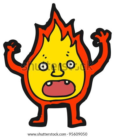 fire character cartoon - stock photo