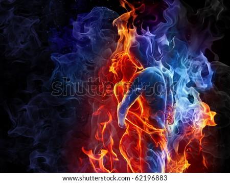 Fire couple - stock photo
