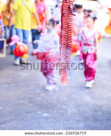 Fire cracker for big festival - stock photo
