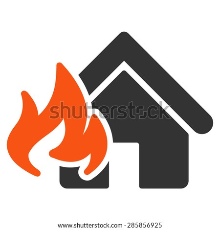 Fire Damage icon from Business Bicolor Set. This flat glyph symbol uses orange and gray colors, rounded angles, and isolated on a white background. - stock photo