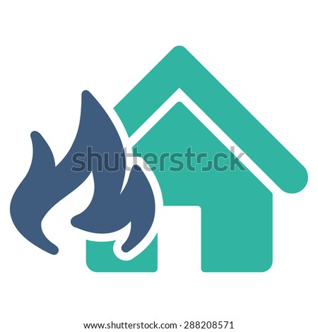 Fire Damage icon from Business Bicolor Set. This flat raster symbol uses cobalt and cyan colors, rounded angles, and isolated on a white background. - stock photo
