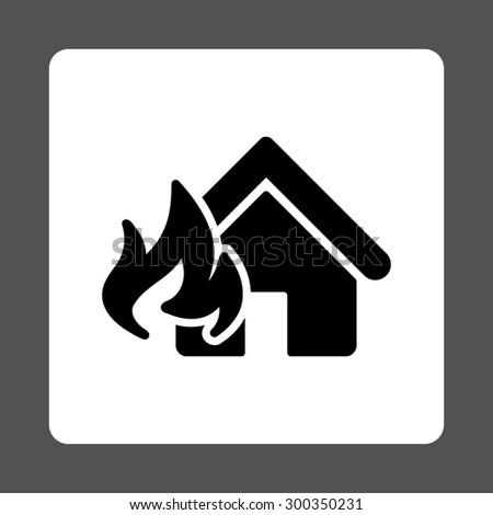 Fire Damage icon. This flat rounded square button uses black and white colors and isolated on a gray background. - stock photo
