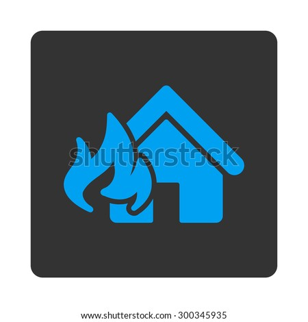 Fire Damage icon. This flat rounded square button uses blue and gray colors and isolated on a white background. - stock photo