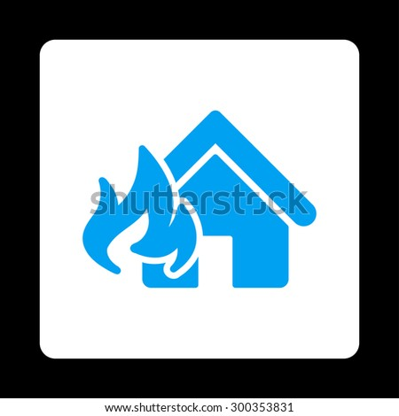 Fire Damage icon. This flat rounded square button uses blue and white colors and isolated on a black background. - stock photo