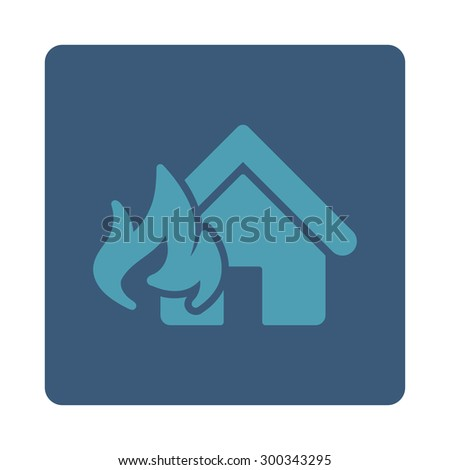 Fire Damage icon. This flat rounded square button uses cyan and blue colors and isolated on a white background. - stock photo