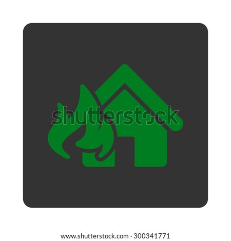 Fire Damage icon. This flat rounded square button uses green and gray colors and isolated on a white background. - stock photo