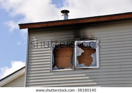 Fire Damage to Apartment Complex - stock photo