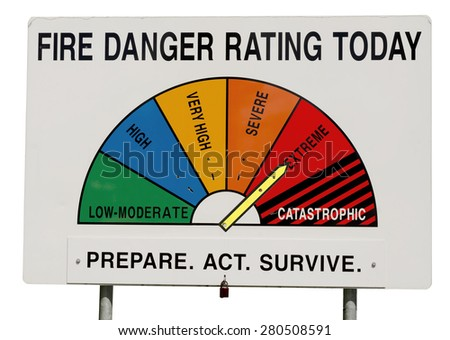 Fire Danger Rating Display Board. Sign has half circle broken up to segments representing fire danger level. Dial gauge set to Extreme. Isolated on white background. Taken in Queensland, Australia. - stock photo
