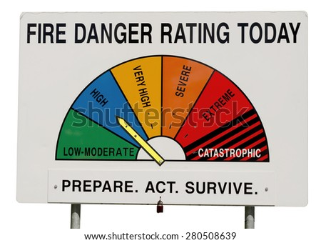 Fire Danger Rating Display Board. Sign has half circle broken up to segments representing fire danger level. Dial gauge set to High. Isolated on white background. Taken in Queensland, Australia. - stock photo