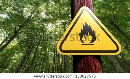 Fire danger sign on the tree - stock photo