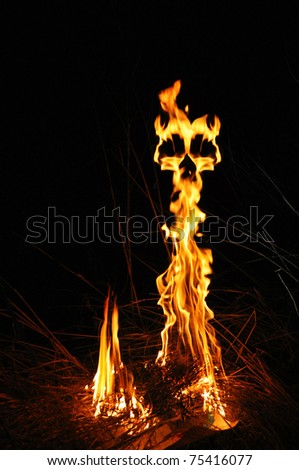 fire demon in the night - stock photo