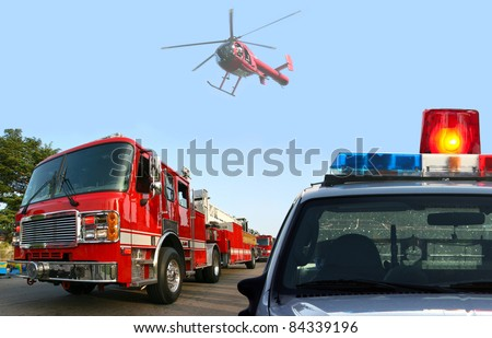 Fire department response - stock photo