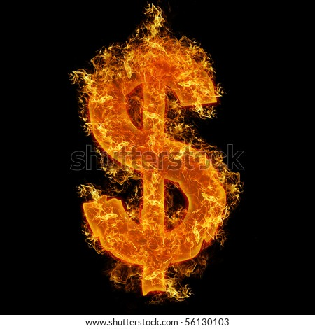 Fire dollar sign on a black background - stock photo